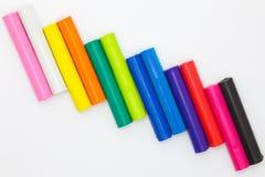 Varas da argila das crianças da cor do arco-íris Imagens de Stock