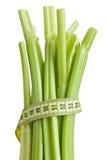 Varas de aipo verdes no fundo branco Imagens de Stock