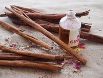 Varas de canela e óleo de canela na lona áspera Imagens de Stock Royalty Free