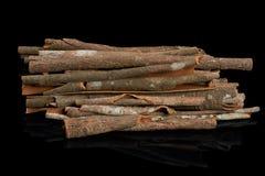 Varas de canela no preto Fotografia de Stock Royalty Free