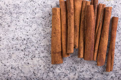 Varas de canela, vista superior Foto de Stock