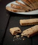 Varas de pão na tabela de madeira retro Fotografia de Stock