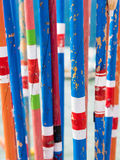 Varas de pesca de bambu tradicionais coloridas Fotografia de Stock