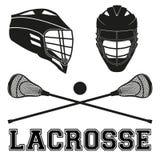 Varas e capacetes da lacrosse Estilo liso Fotografia de Stock Royalty Free