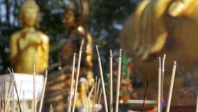 Varas leves do incenso com fumo no templo budista tailândia Pattaya vídeos de arquivo