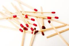 Varas vermelhas e marrons do fósforo Foto de Stock