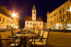 Varazdin市中心巴洛克式的城镇  库存照片