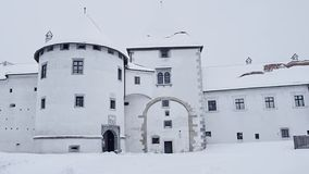 Varazdin Castle museum. Varazdin Castle and Old Town in winter time, one of the most important tourist centers of northern Croatia stock video footage