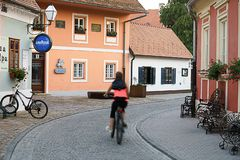 Colorful street in baroque town Varazdin view, tourist destinati stock photography
