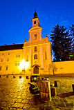 Varazdin old street and church evening view Royalty Free Stock Photography