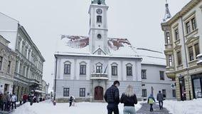 Varazdin square King Tomislav stock video
