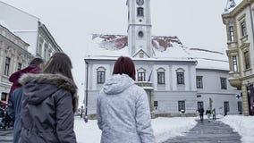 Varazdin square King Tomislav stock video footage