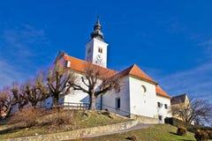 Varazdinske toplice - church on hill. Zagorje, Croatia Royalty Free Stock Photo