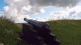 Varberg historic canon. Historic canon by the old fortress in Varberg, Sweden stock footage