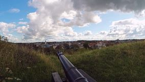 Varberg historic canon zoom. Historic canon by the old fortress in Varberg, Sweden stock footage