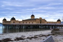 The beautiful old bath house for cold baths in the sea in Varberg, Sweden. stock images