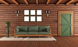 Vardagsrum av ett trähus royaltyfri illustrationer