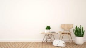Vardagsrum eller coffee shop och utrymme för konstverk - tolkning 3D stock illustrationer