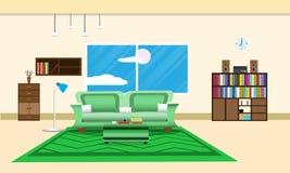 Vardagsrum- eller kontorsdesigninre kopplar av med soffan - matta gräsplan och bokhyllafönstret i vägggulingbakgrund Vektor Illus Royaltyfria Bilder