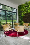 vardagsrum för hus för ecomiljö vänligt grönt Royaltyfri Bild