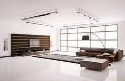 vardagsrum för interior 3d Royaltyfri Foto