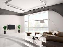vardagsrum för interior 3d Arkivbilder