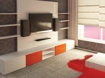 vardagsrum för interior 3d Royaltyfri Bild