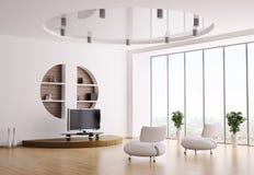 vardagsrum för interior 3d Royaltyfri Fotografi