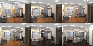 vardagsrum för tolkning 3D Arkivbild