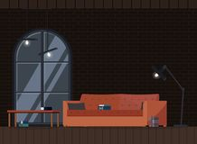 Vardagsrum för vind för industriell inre bakgrundsdesign modern stock illustrationer