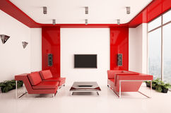 vardagsrum för interior 3d Royaltyfria Bilder