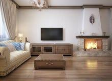 Vardagsrum i en lantlig stil med mjukt möblemang och en stor spis med klassiska beståndsdelar stock illustrationer