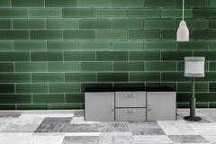 Vardagsrum med bakgrund för vägg för tegelsten för smaragdgräsplan royaltyfri illustrationer