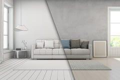 Vardagsrum med betongväggen i modernt hus, skissar design av vindinre Fotografering för Bildbyråer