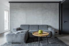 Vardagsrum med den gråa soffan arkivbilder