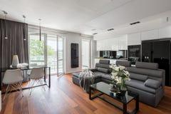Vardagsrum med den gråa soffan royaltyfria foton
