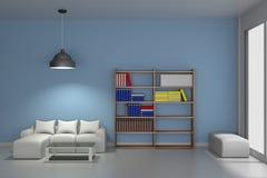 Vardagsrum med den moderna bokhyllan - tolkning 3D Arkivfoto