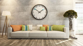 Vardagsrum med den stora klockan på tolkning för betongvägg 3d