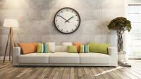 Vardagsrum med den stora klockan på tolkning för betongvägg 3d Arkivbild