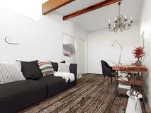 Vardagsrum med den svarta soffan, skrivbordet och ljuskronan royaltyfri illustrationer