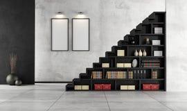 Vardagsrum med den trätrappuppgången och bokhyllan