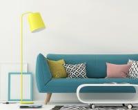 Vardagsrum med en blå soffa stock illustrationer