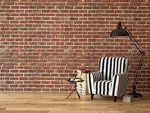 Vardagsrum med en fåtölj och böcker, 3d Arkivbild
