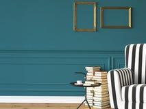 Vardagsrum med en fåtölj och böcker, 3d Fotografering för Bildbyråer