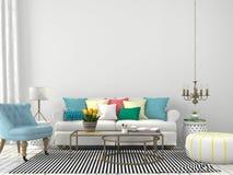 Vardagsrum med färgrika kuddar Arkivbild