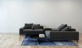 Vardagsrum med Gray Sofa i modern lägenhet Royaltyfria Bilder