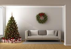Vardagsrum med julträdet Arkivfoto