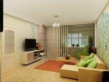 Vardagsrum med landskapsikten, inre 3D Royaltyfri Fotografi