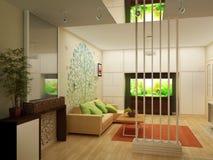Vardagsrum med landskapsikten, inre 3D Royaltyfri Bild