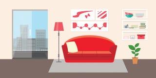 Vardagsrum med möblemang Inre illustration för plan stilvektor Soffa kudde, lampa, bilder, balkong, blomma, hylla Dayli royaltyfri illustrationer